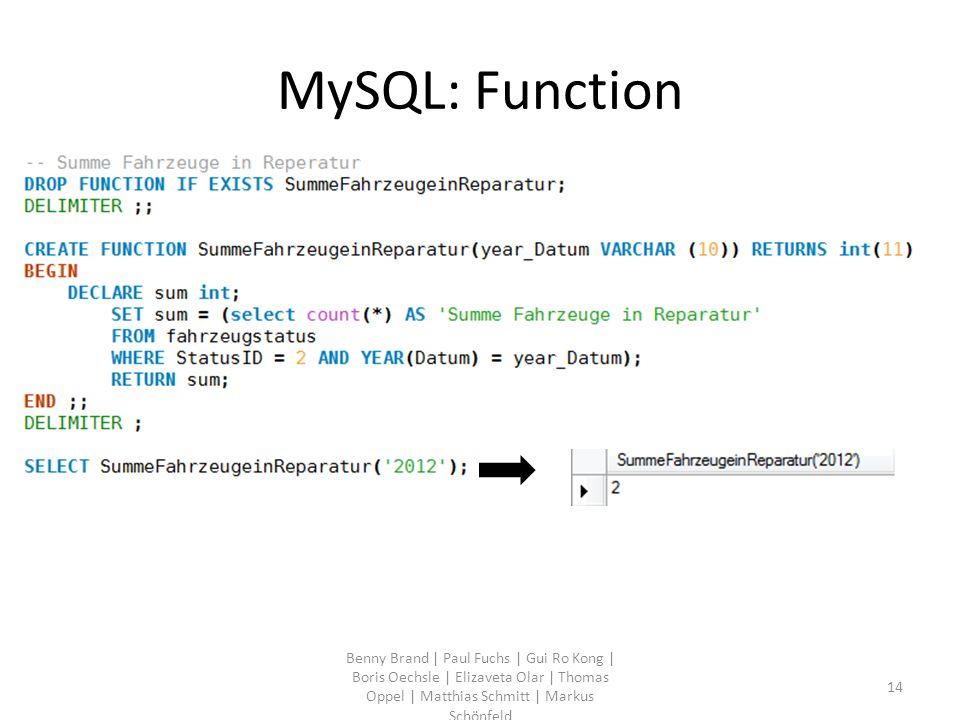 MySQL: Function Benny Brand | Paul Fuchs | Gui Ro Kong | Boris Oechsle | Elizaveta Olar | Thomas Oppel | Matthias Schmitt | Markus Schönfeld 14