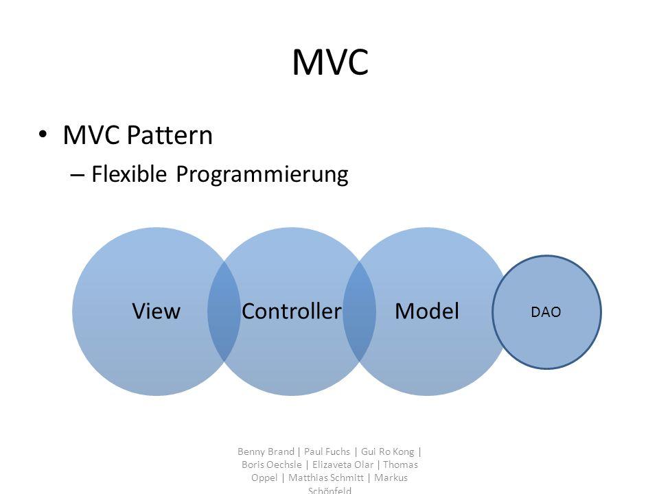 MVC MVC Pattern – Flexible Programmierung Benny Brand | Paul Fuchs | Gui Ro Kong | Boris Oechsle | Elizaveta Olar | Thomas Oppel | Matthias Schmitt |