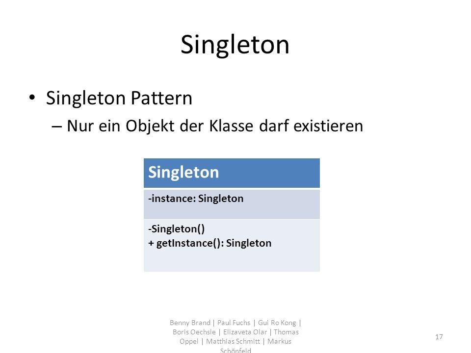 Singleton Singleton Pattern – Nur ein Objekt der Klasse darf existieren Benny Brand | Paul Fuchs | Gui Ro Kong | Boris Oechsle | Elizaveta Olar | Thom