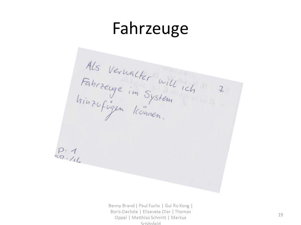 Fahrzeuge Benny Brand | Paul Fuchs | Gui Ro Kong | Boris Oechsle | Elizaveta Olar | Thomas Oppel | Matthias Schmitt | Markus Schönfeld 19