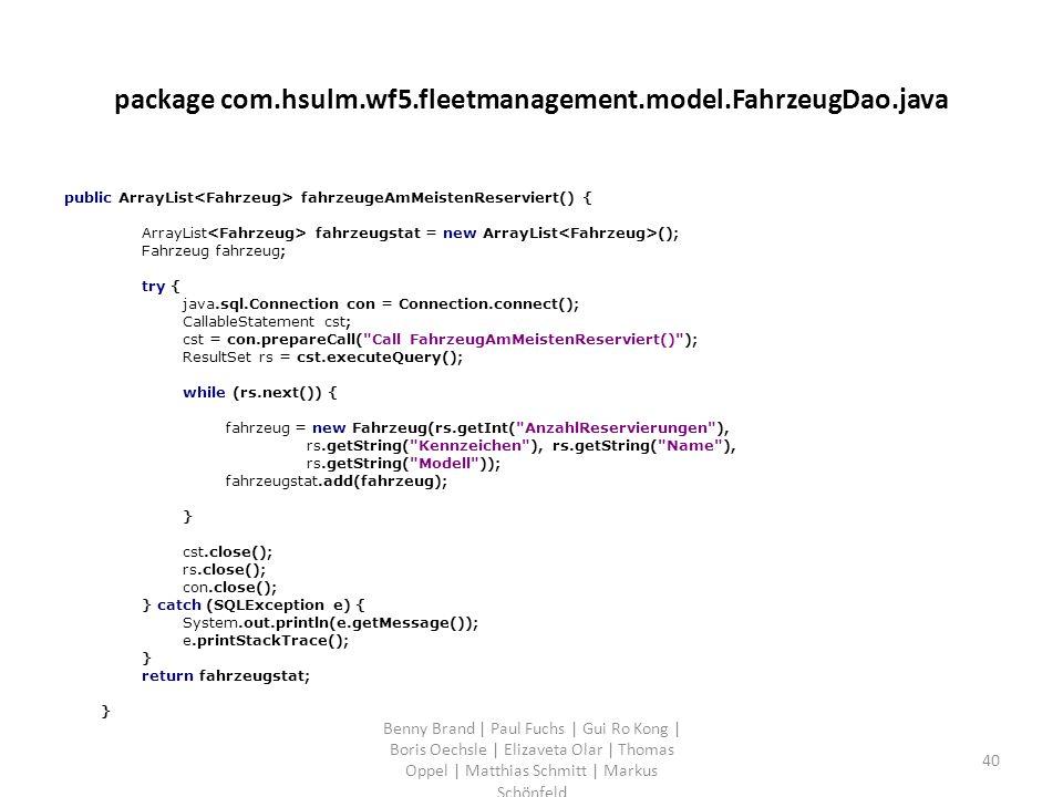 package com.hsulm.wf5.fleetmanagement.model.FahrzeugDao.java public ArrayList fahrzeugeAmMeistenReserviert() { ArrayList fahrzeugstat = new ArrayList