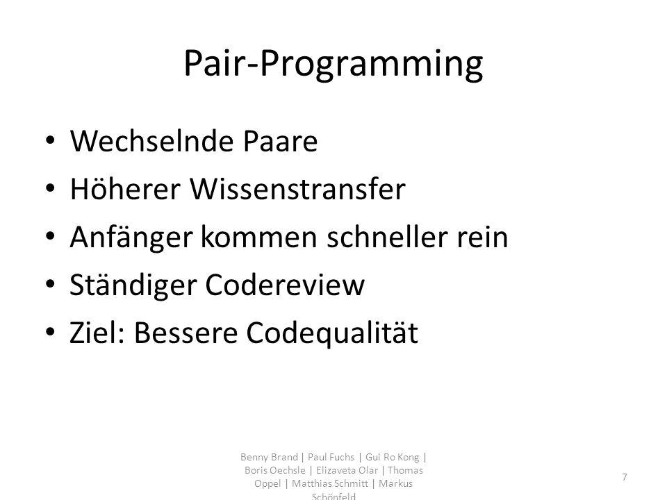 Pair-Programming Wechselnde Paare Höherer Wissenstransfer Anfänger kommen schneller rein Ständiger Codereview Ziel: Bessere Codequalität Benny Brand |