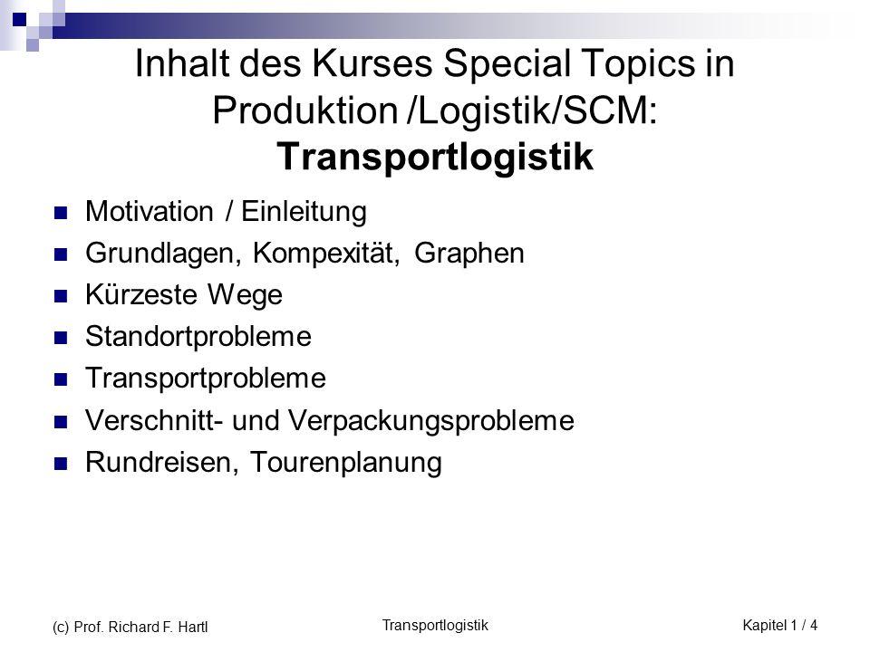 TransportlogistikKapitel 1 / 4 (c) Prof. Richard F. Hartl Inhalt des Kurses Special Topics in Produktion /Logistik/SCM: Transportlogistik Motivation /