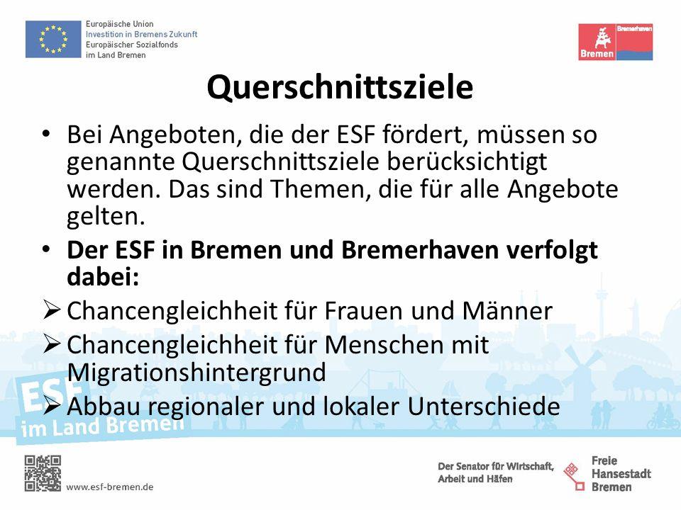 Querschnittsziele Bei Angeboten, die der ESF fördert, müssen so genannte Querschnittsziele berücksichtigt werden.