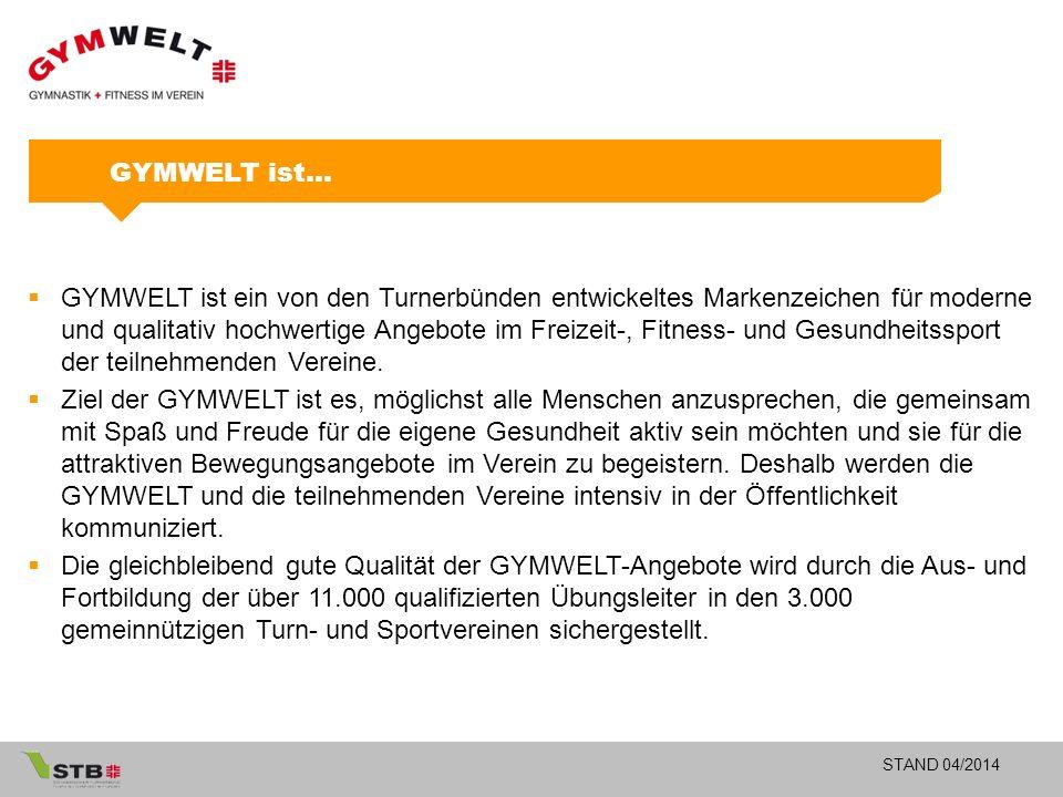 STAND 04/2014 GYMWELT ist…  GYMWELT ist ein von den Turnerbünden entwickeltes Markenzeichen für moderne und qualitativ hochwertige Angebote im Freizeit-, Fitness- und Gesundheitssport der teilnehmenden Vereine.