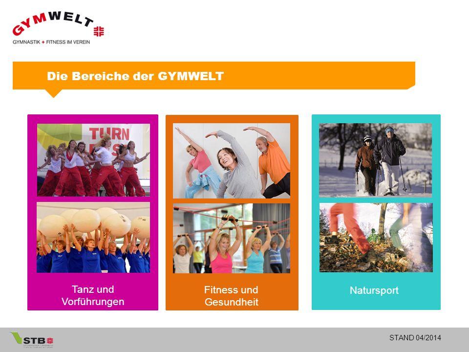STAND 04/2014 Fitness und Gesundheit Tanz und Vorführungen Natursport Die Bereiche der GYMWELT