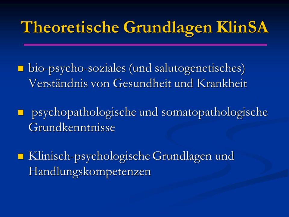 Theoretische Grundlagen KlinSA bio-psycho-soziales (und salutogenetisches) Verständnis von Gesundheit und Krankheit bio-psycho-soziales (und salutogenetisches) Verständnis von Gesundheit und Krankheit psychopathologische und somatopathologische Grundkenntnisse psychopathologische und somatopathologische Grundkenntnisse Klinisch-psychologische Grundlagen und Handlungskompetenzen Klinisch-psychologische Grundlagen und Handlungskompetenzen