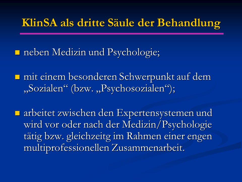 """KlinSA als dritte S ä ule der Behandlung neben Medizin und Psychologie; neben Medizin und Psychologie; mit einem besonderen Schwerpunkt auf dem """"Sozia"""