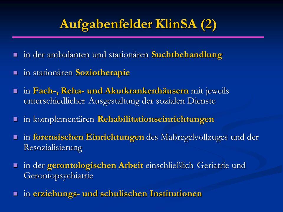 Aufgabenfelder KlinSA (2) in der ambulanten und stationären Suchtbehandlung in der ambulanten und stationären Suchtbehandlung in stationären Soziother