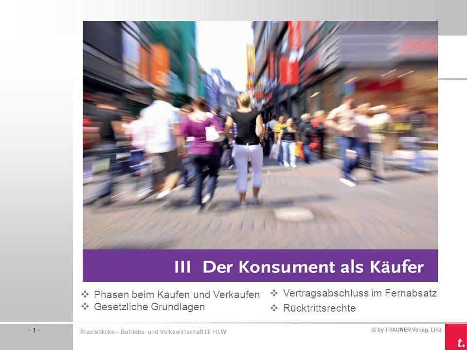 © by TRAUNER Verlag, Linz - 1 - Praxisblicke – Betriebs- und Volkswirtschaft I/II HLW  Vertragsabschluss im Fernabsatz  Rücktrittsrechte  Phasen be