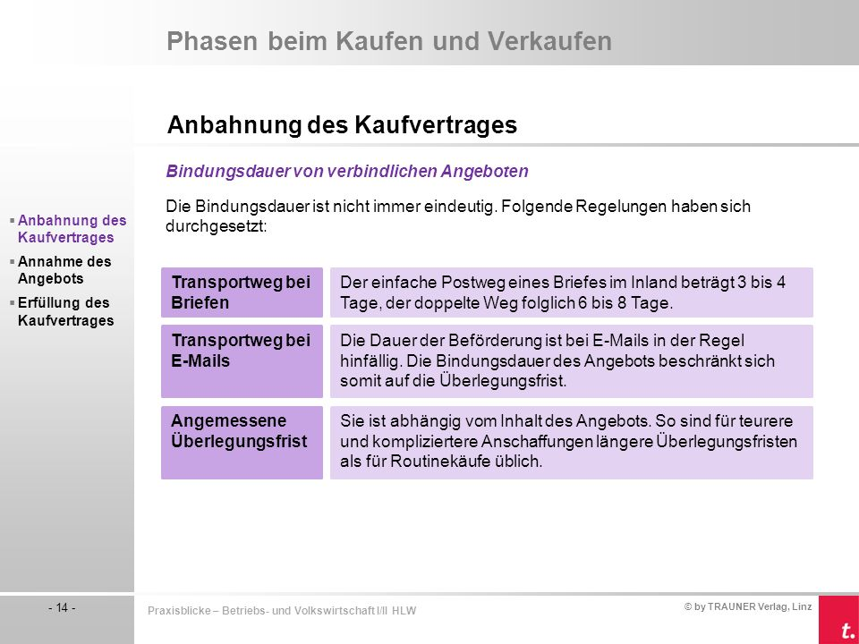 © by TRAUNER Verlag, Linz - 14 - Praxisblicke – Betriebs- und Volkswirtschaft I/II HLW Phasen beim Kaufen und Verkaufen Anbahnung des Kaufvertrages Bi
