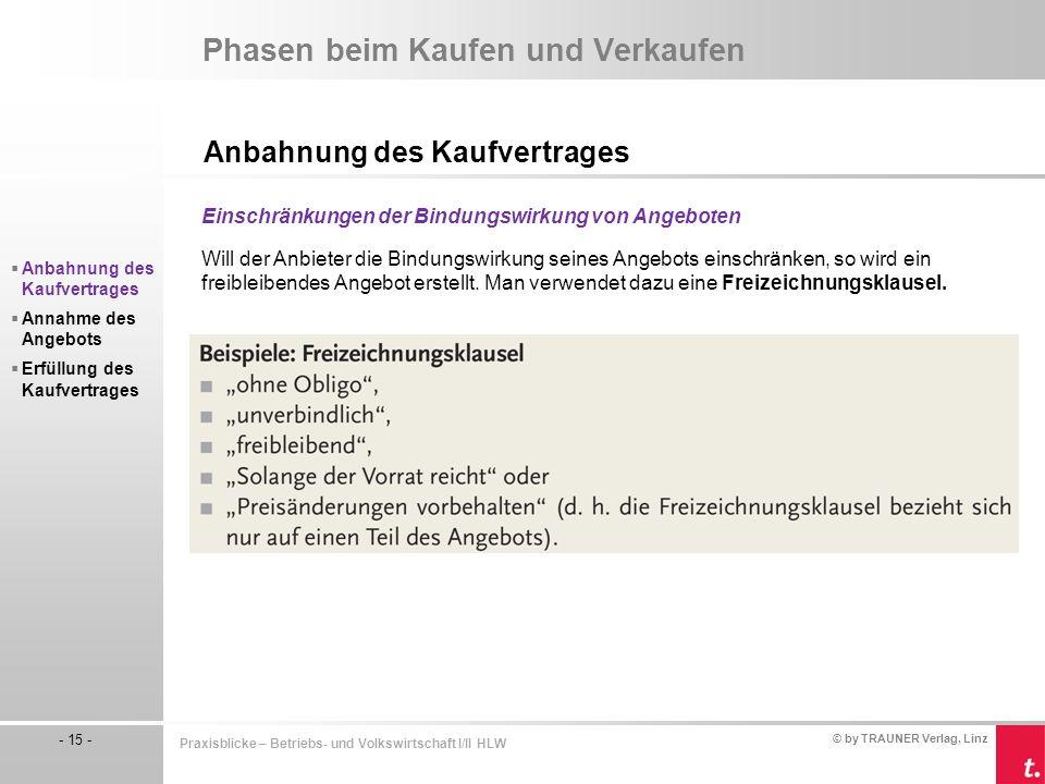 © by TRAUNER Verlag, Linz - 15 - Praxisblicke – Betriebs- und Volkswirtschaft I/II HLW Phasen beim Kaufen und Verkaufen Anbahnung des Kaufvertrages Ei