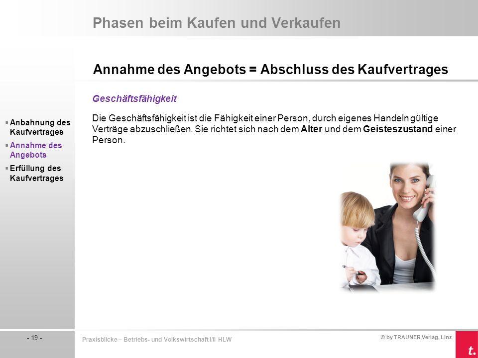 © by TRAUNER Verlag, Linz - 19 - Praxisblicke – Betriebs- und Volkswirtschaft I/II HLW Phasen beim Kaufen und Verkaufen Annahme des Angebots = Abschlu