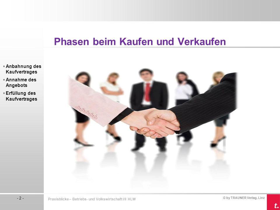 © by TRAUNER Verlag, Linz - 2 - Praxisblicke – Betriebs- und Volkswirtschaft I/II HLW  Anbahnung des Kaufvertrages  Annahme des Angebots  Erfüllung