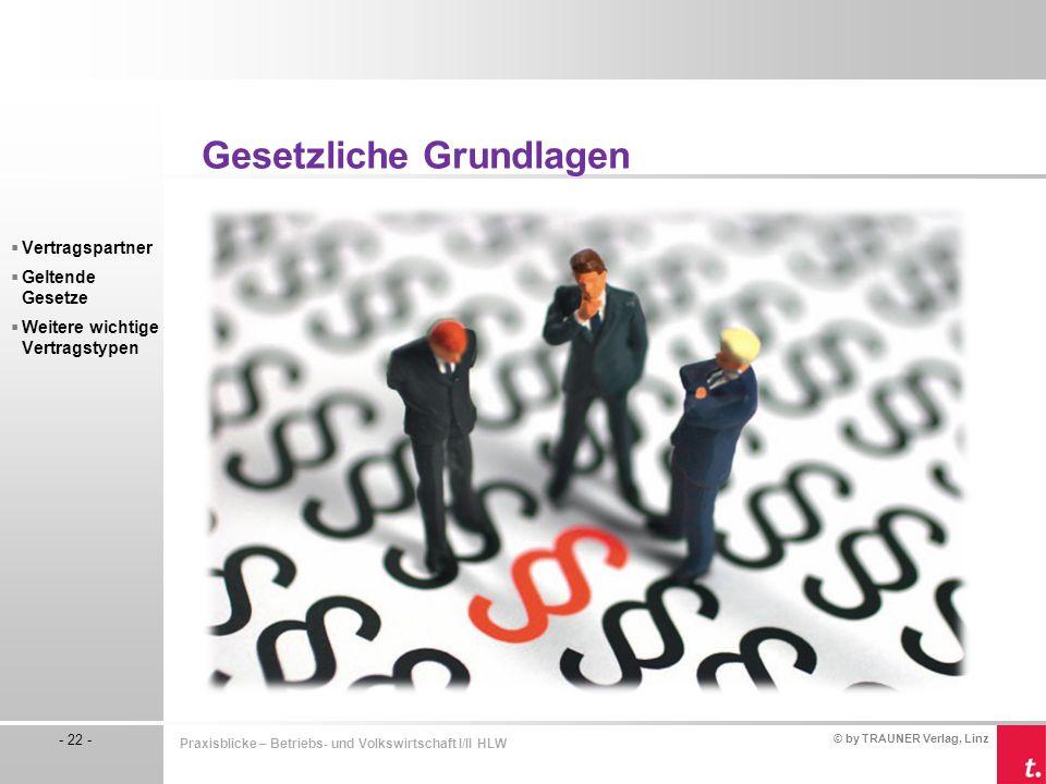 © by TRAUNER Verlag, Linz - 22 - Praxisblicke – Betriebs- und Volkswirtschaft I/II HLW  Vertragspartner  Geltende Gesetze  Weitere wichtige Vertrag