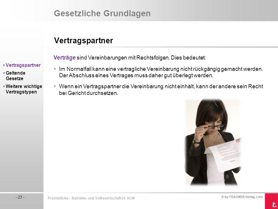 © by TRAUNER Verlag, Linz - 23 - Praxisblicke – Betriebs- und Volkswirtschaft I/II HLW Gesetzliche Grundlagen Vertragspartner  Vertragspartner  Gelt