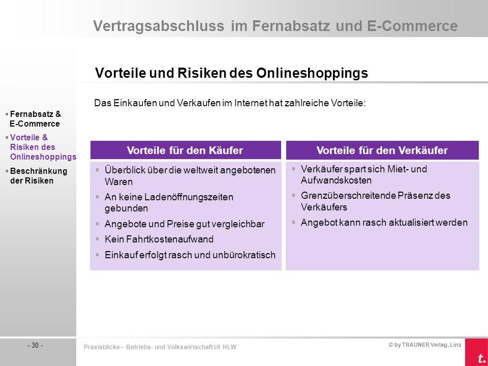 © by TRAUNER Verlag, Linz - 30 - Praxisblicke – Betriebs- und Volkswirtschaft I/II HLW Vertragsabschluss im Fernabsatz und E-Commerce Vorteile und Ris