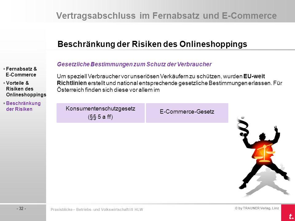 © by TRAUNER Verlag, Linz - 32 - Praxisblicke – Betriebs- und Volkswirtschaft I/II HLW Vertragsabschluss im Fernabsatz und E-Commerce Beschränkung der