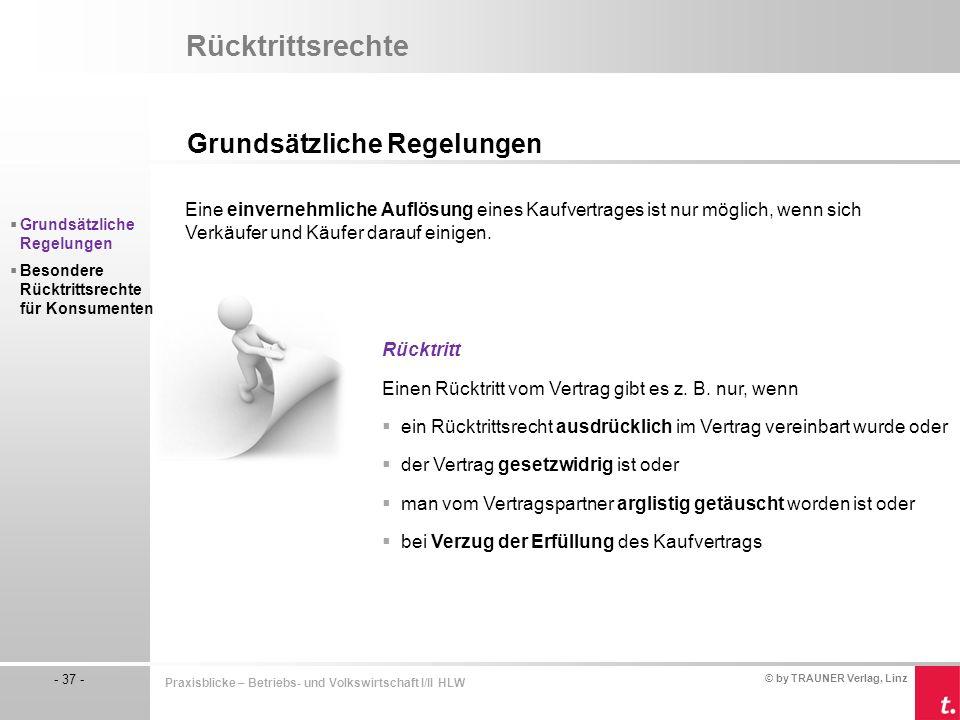 © by TRAUNER Verlag, Linz - 37 - Praxisblicke – Betriebs- und Volkswirtschaft I/II HLW Rücktrittsrechte Grundsätzliche Regelungen  Grundsätzliche Reg