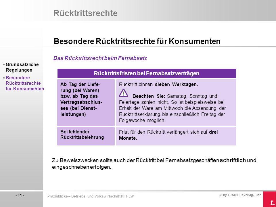 © by TRAUNER Verlag, Linz - 41 - Praxisblicke – Betriebs- und Volkswirtschaft I/II HLW Rücktrittsrechte Besondere Rücktrittsrechte für Konsumenten  G