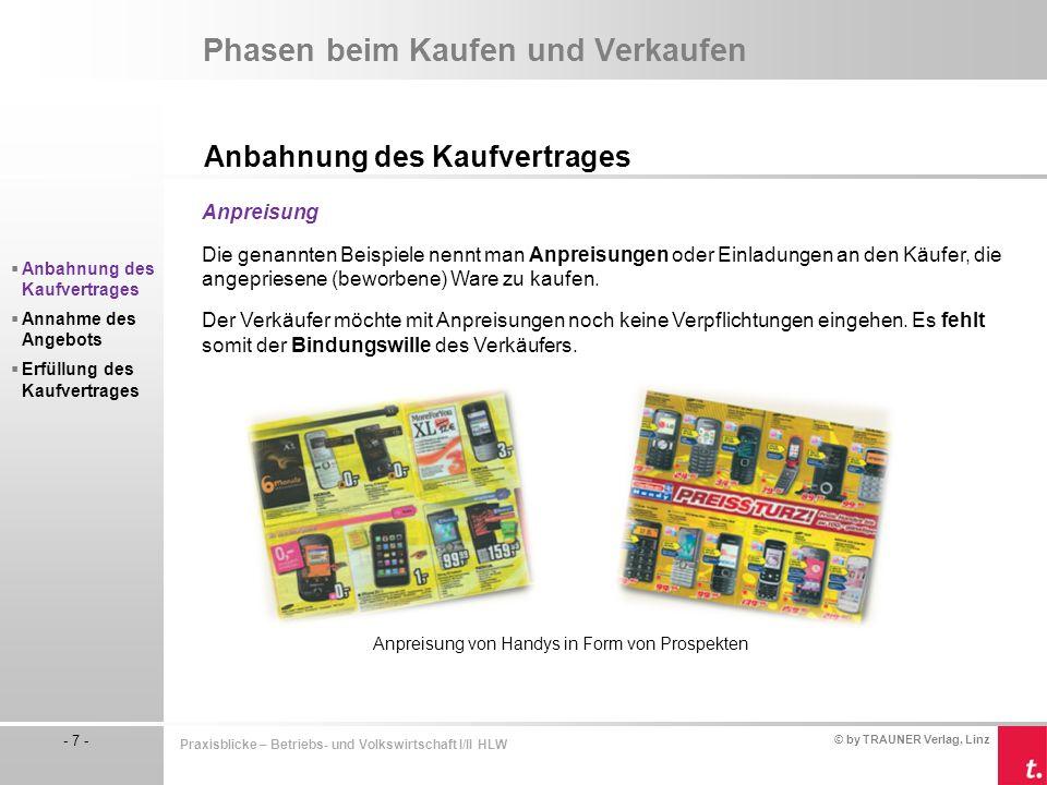 © by TRAUNER Verlag, Linz - 7 - Praxisblicke – Betriebs- und Volkswirtschaft I/II HLW Phasen beim Kaufen und Verkaufen Anbahnung des Kaufvertrages Anp