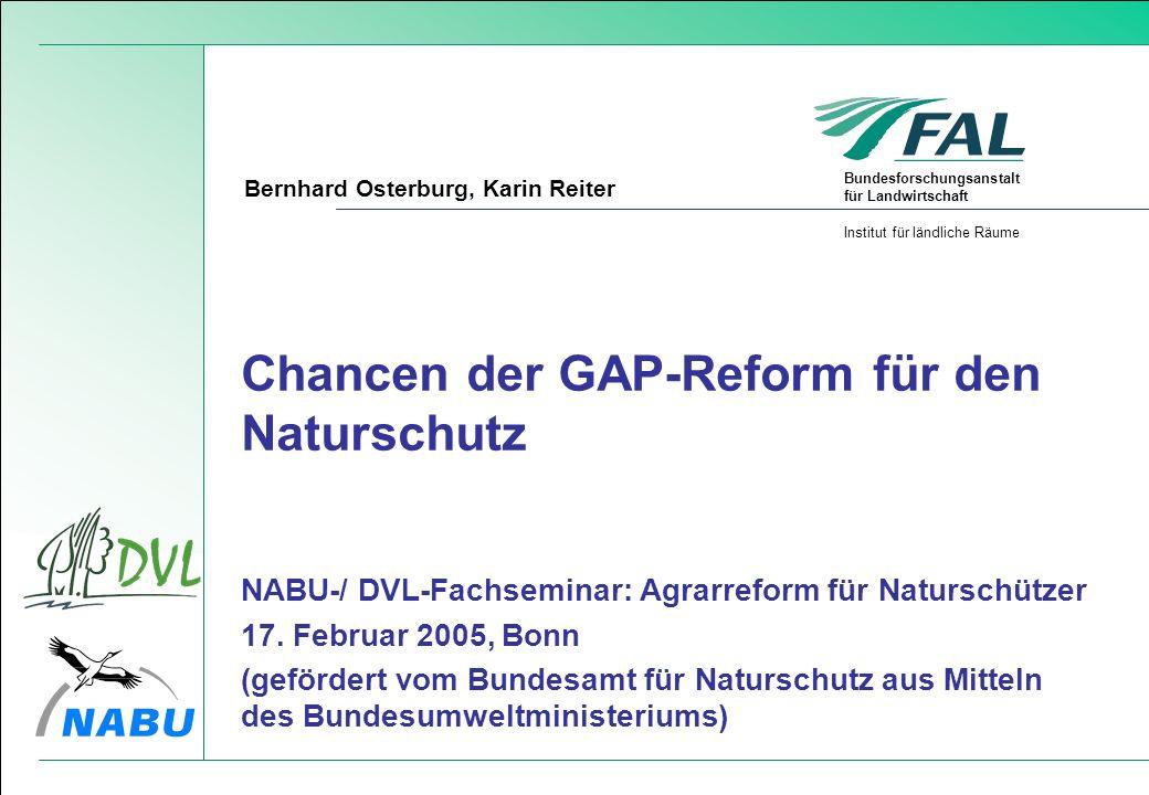 Bundesforschungsanstalt für Landwirtschaft Institut für ländliche Räume Chancen der GAP-Reform für den Naturschutz NABU-/ DVL-Fachseminar: Agrarreform