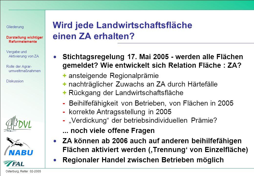 Osterburg, Reiter 02-2005 Wird jede Landwirtschaftsfläche einen ZA erhalten?  Stichtagsregelung 17. Mai 2005 - werden alle Flächen gemeldet? Wie entw