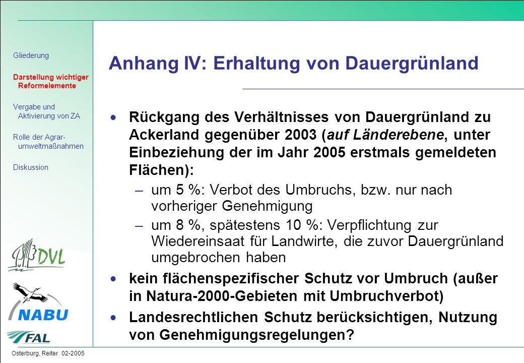 Osterburg, Reiter 02-2005 Anhang IV: Erhaltung von Dauergrünland  Rückgang des Verhältnisses von Dauergrünland zu Ackerland gegenüber 2003 (auf Lände