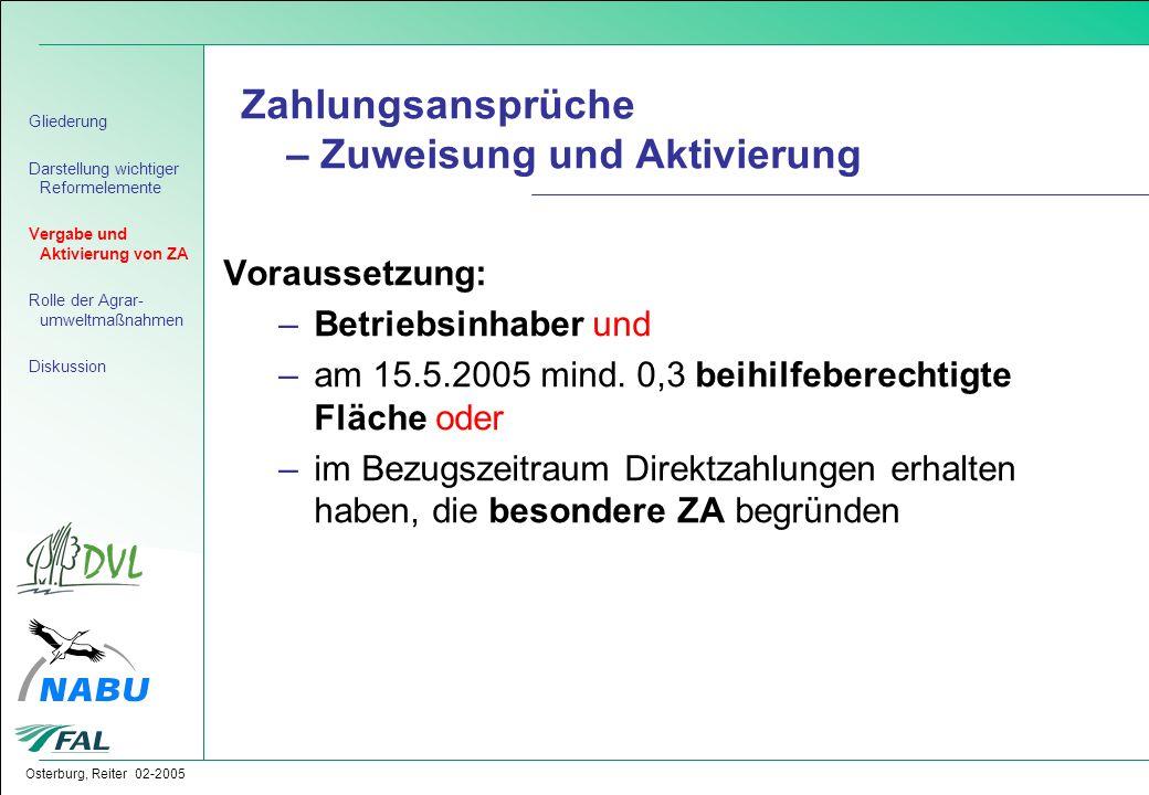 Osterburg, Reiter 02-2005 Zahlungsansprüche – Zuweisung und Aktivierung Voraussetzung: –Betriebsinhaber und –am 15.5.2005 mind. 0,3 beihilfeberechtigt