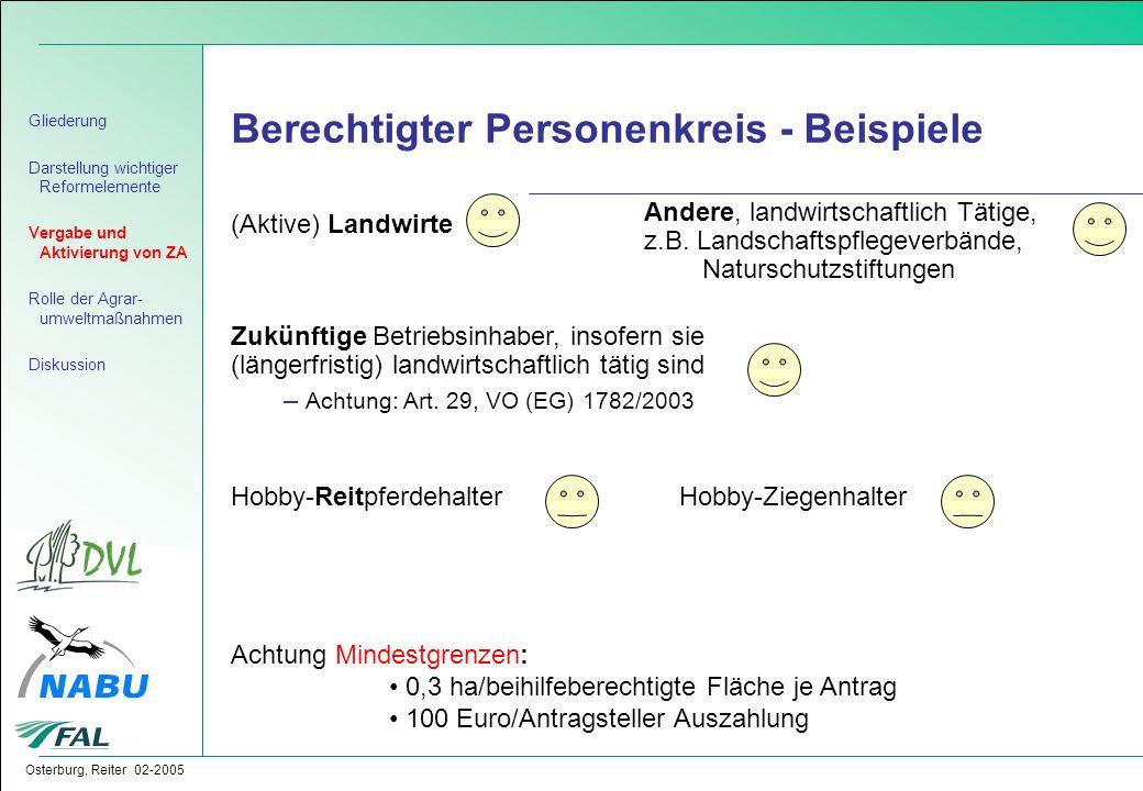 Osterburg, Reiter 02-2005 Berechtigter Personenkreis - Beispiele (Aktive) Landwirte Andere, landwirtschaftlich Tätige, z.B. Landschaftspflegeverbände,