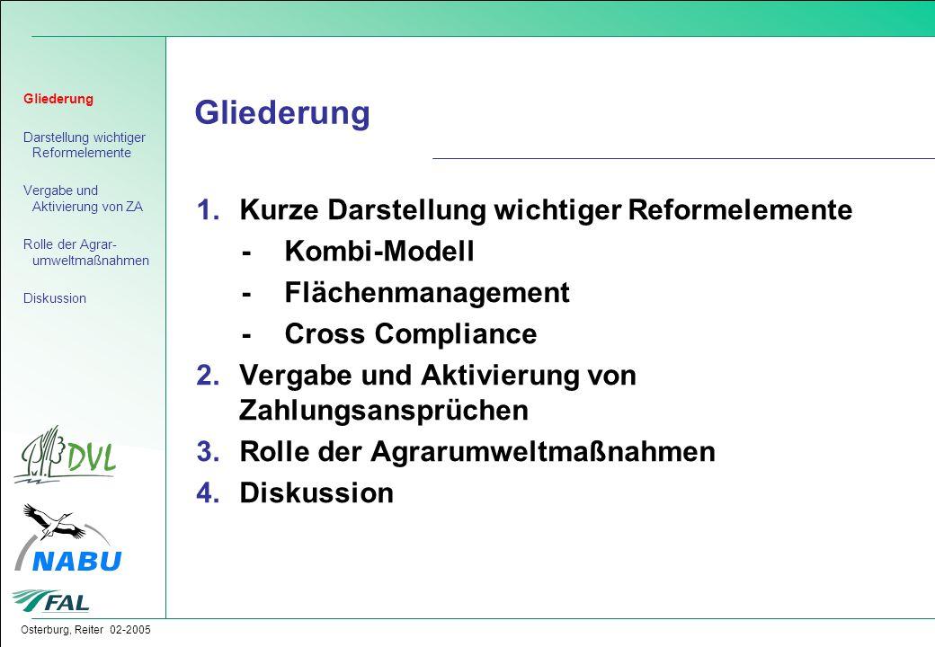 Osterburg, Reiter 02-2005 Gliederung 1.Kurze Darstellung wichtiger Reformelemente -Kombi-Modell -Flächenmanagement -Cross Compliance 2.Vergabe und Akt