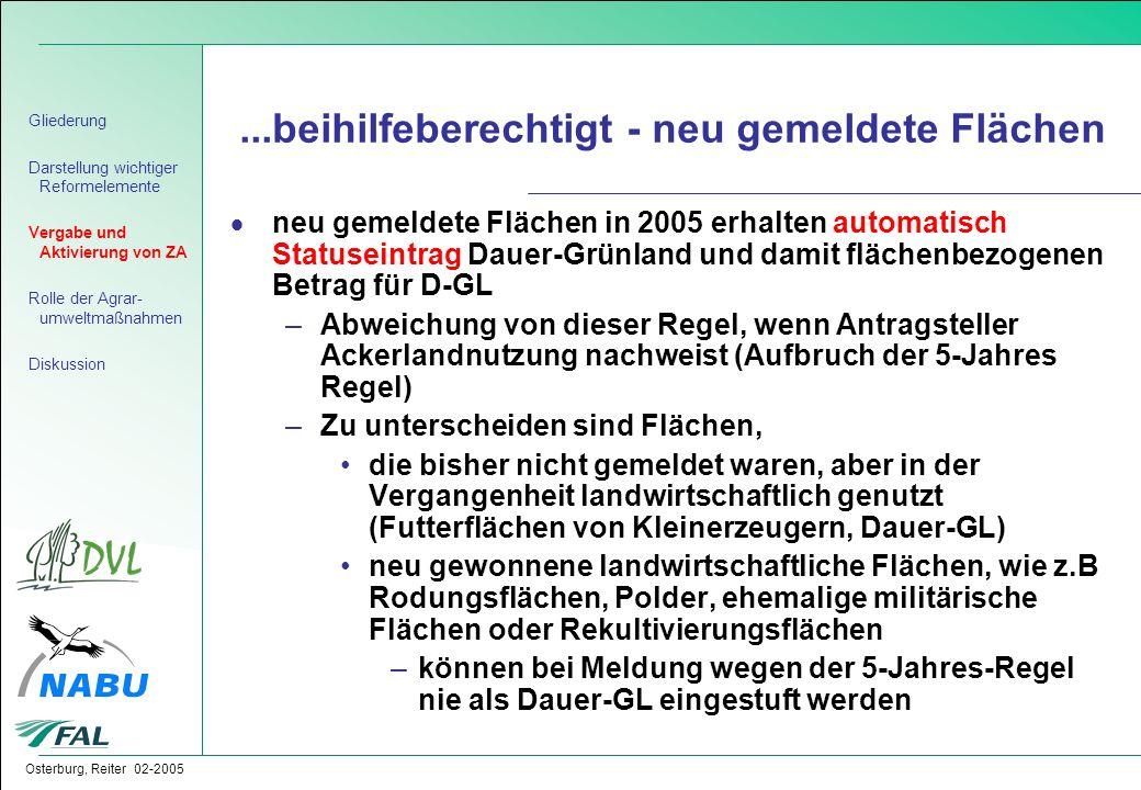Osterburg, Reiter 02-2005...beihilfeberechtigt - neu gemeldete Flächen  neu gemeldete Flächen in 2005 erhalten automatisch Statuseintrag Dauer-Grünla