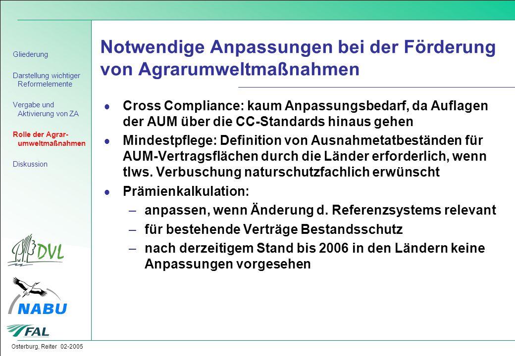 Osterburg, Reiter 02-2005 Notwendige Anpassungen bei der Förderung von Agrarumweltmaßnahmen  Cross Compliance: kaum Anpassungsbedarf, da Auflagen der