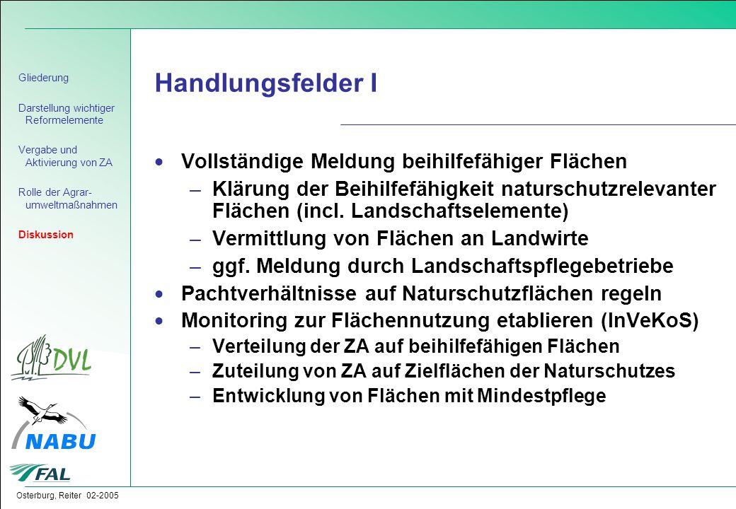 Osterburg, Reiter 02-2005  Vollständige Meldung beihilfefähiger Flächen –Klärung der Beihilfefähigkeit naturschutzrelevanter Flächen (incl. Landschaf