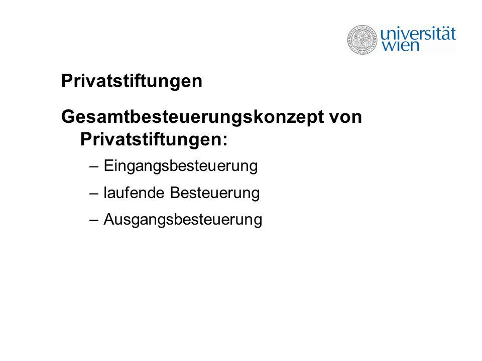 Privatstiftungen Gesamtbesteuerungskonzept von Privatstiftungen: –Eingangsbesteuerung –laufende Besteuerung –Ausgangsbesteuerung