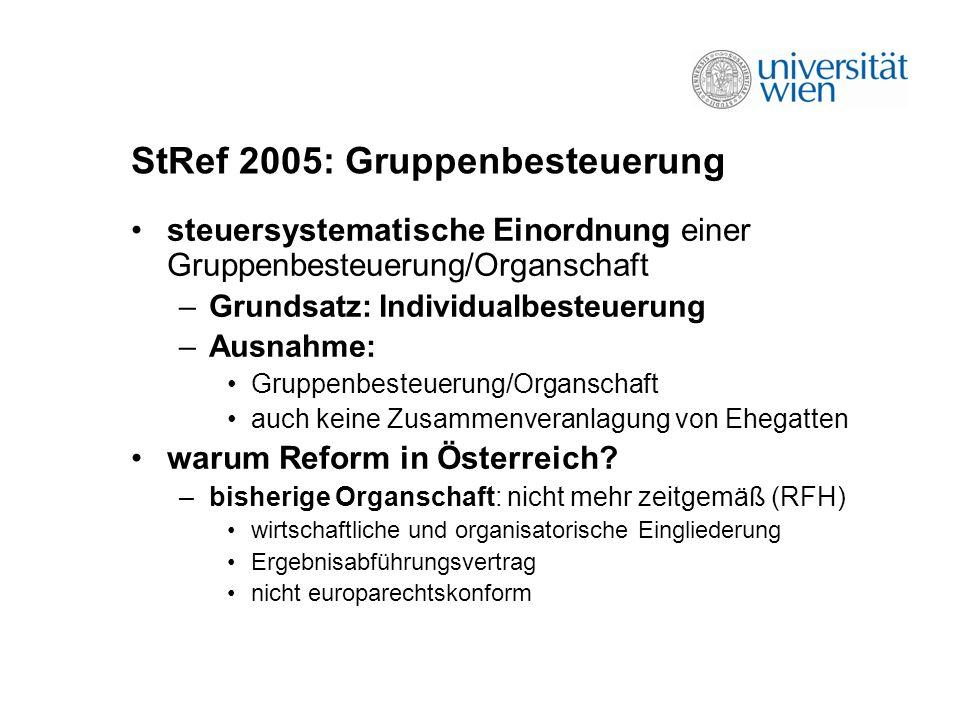 StRef 2005: Gruppenbesteuerung steuersystematische Einordnung einer Gruppenbesteuerung/Organschaft –Grundsatz: Individualbesteuerung –Ausnahme: Gruppenbesteuerung/Organschaft auch keine Zusammenveranlagung von Ehegatten warum Reform in Österreich.
