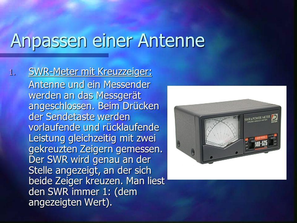 Anpassen einer Antenne 1. SWR-Meter mit Kreuzzeiger: Antenne und ein Messender werden an das Messgerät angeschlossen. Beim Drücken der Sendetaste werd