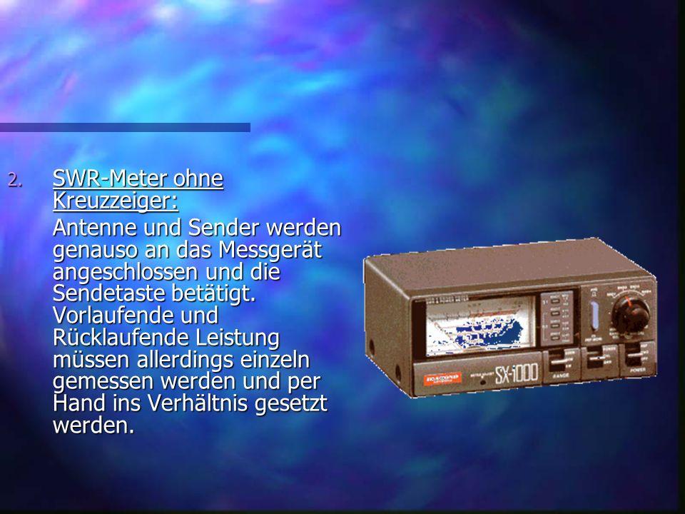 2. SWR-Meter ohne Kreuzzeiger: Antenne und Sender werden genauso an das Messgerät angeschlossen und die Sendetaste betätigt. Vorlaufende und Rücklaufe