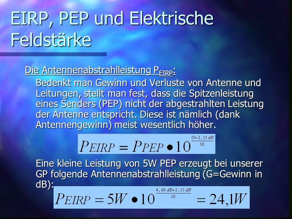EIRP, PEP und Elektrische Feldstärke Die Antennenabstrahlleistung P EIRP : Bedenkt man Gewinn und Verluste von Antenne und Leitungen, stellt man fest,