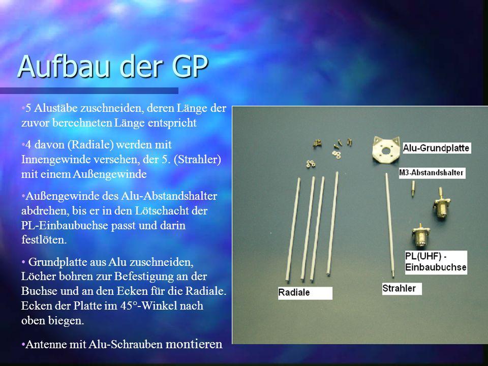 Aufbau der GP 5 Alustäbe zuschneiden, deren Länge der zuvor berechneten Länge entspricht 4 davon (Radiale) werden mit Innengewinde versehen, der 5. (S