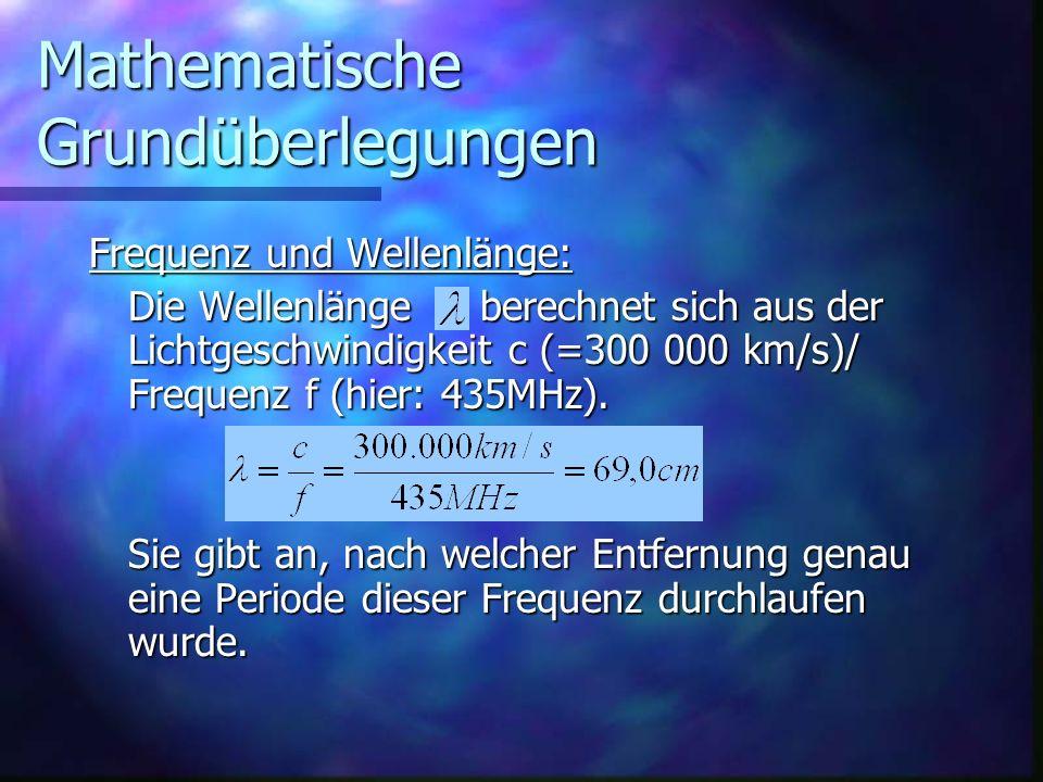 Mathematische Grundüberlegungen Frequenz und Wellenlänge: Die Wellenlänge berechnet sich aus der Lichtgeschwindigkeit c (=300 000 km/s)/ Frequenz f (h