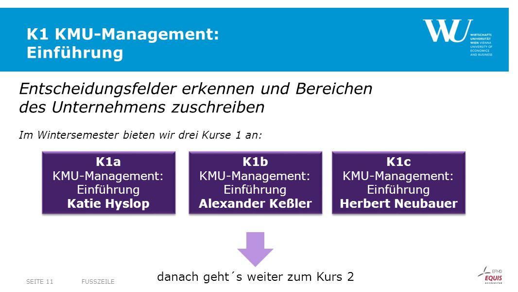 K1 KMU-Management: Einführung FUSSZEILESEITE 11 Entscheidungsfelder erkennen und Bereichen des Unternehmens zuschreiben Im Wintersemester bieten wir d