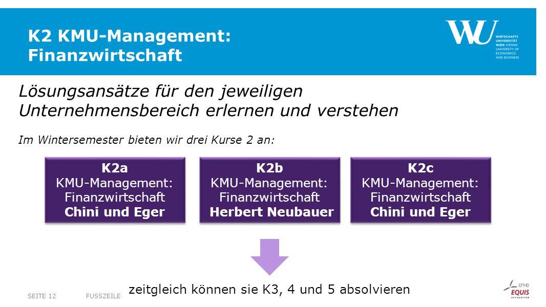 K2 KMU-Management: Finanzwirtschaft FUSSZEILESEITE 12 Lösungsansätze für den jeweiligen Unternehmensbereich erlernen und verstehen Im Wintersemester b