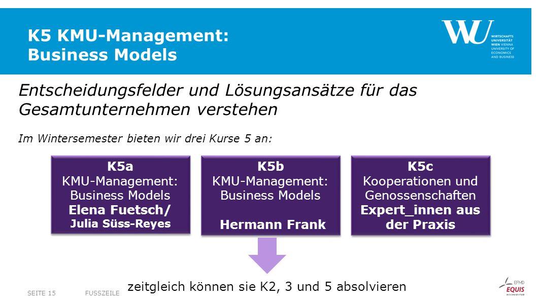 K5 KMU-Management: Business Models FUSSZEILESEITE 15 Entscheidungsfelder und Lösungsansätze für das Gesamtunternehmen verstehen Im Wintersemester biet