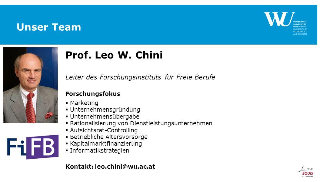 Unser Team Prof. Leo W. Chini Leiter des Forschungsinstituts für Freie Berufe Forschungsfokus  Marketing  Unternehmensgründung  Unternehmensübergab