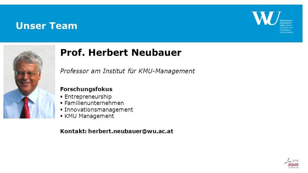 Unser Team Prof. Herbert Neubauer Professor am Institut für KMU-Management Forschungsfokus  Entrepreneurship  Familienunternehmen  Innovationsmanag
