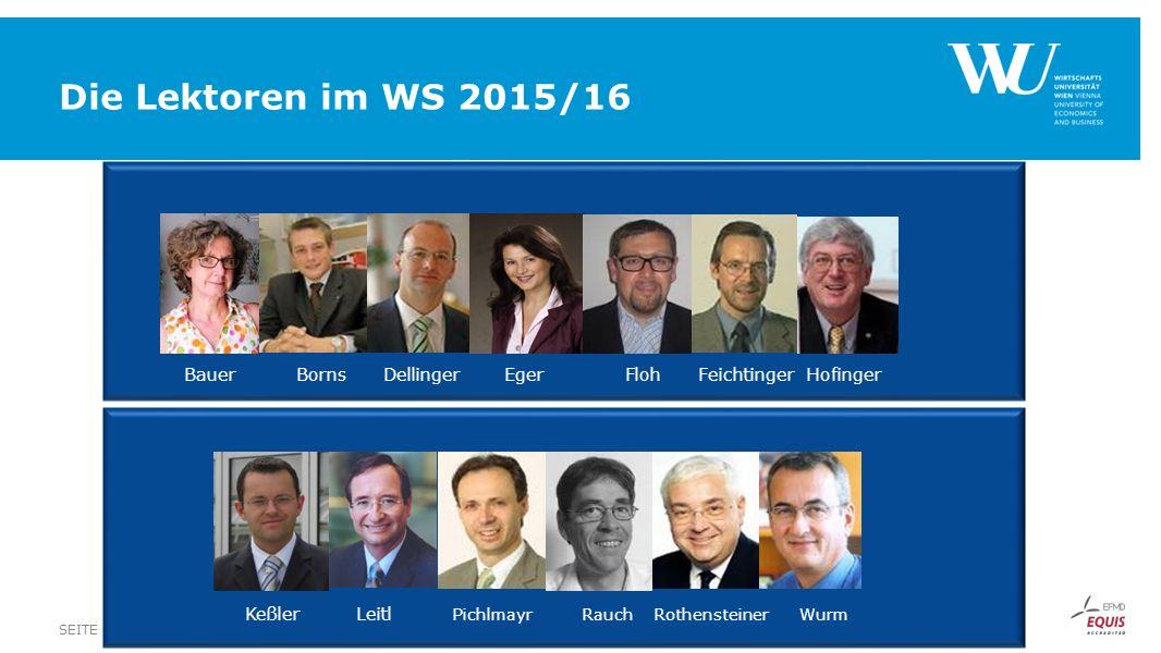 Die Lektoren im WS 2015/16 FUSSZEILESEITE 40 Bauer Borns Dellinger Eger Floh Feichtinger Hofinger Keßler Leitl Pichlmayr Rauch Rothensteiner Wurm