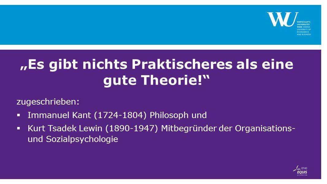 """""""Es gibt nichts Praktischeres als eine gute Theorie! zugeschrieben:  Immanuel Kant (1724-1804) Philosoph und  Kurt Tsadek Lewin (1890-1947) Mitbegründer der Organisations- und Sozialpsychologie"""