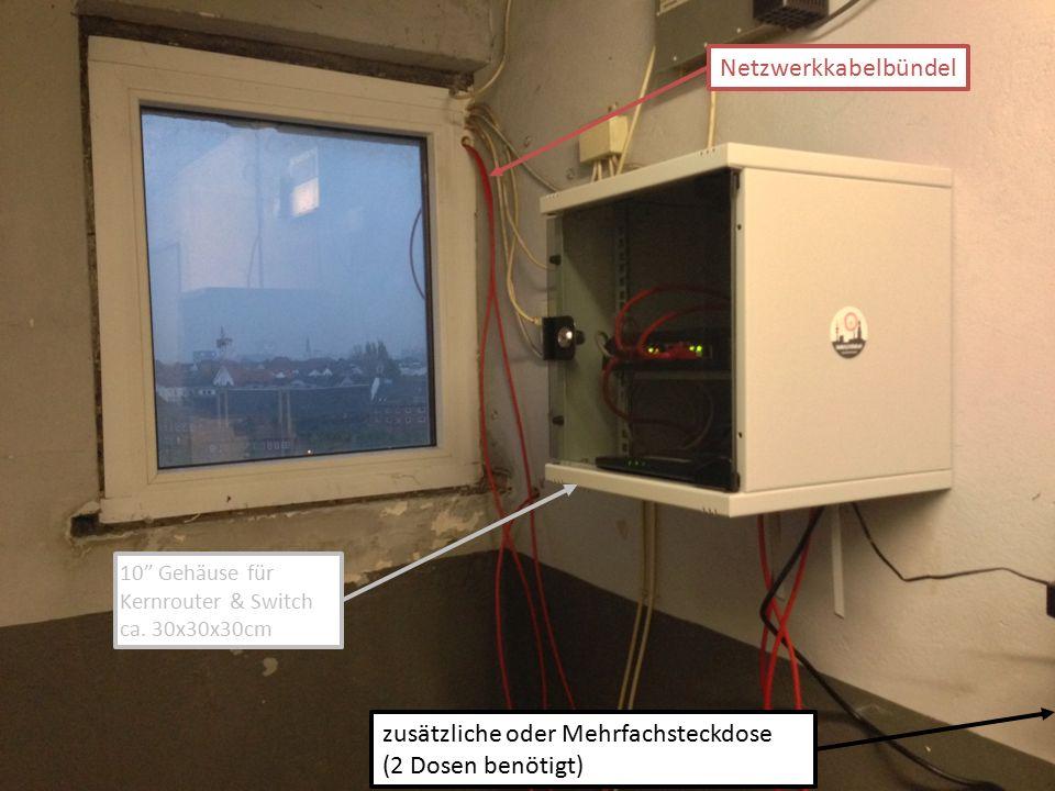 """zusätzliche oder Mehrfachsteckdose (2 Dosen benötigt) Netzwerkkabelbündel 10"""" Gehäuse für Kernrouter & Switch ca. 30x30x30cm"""