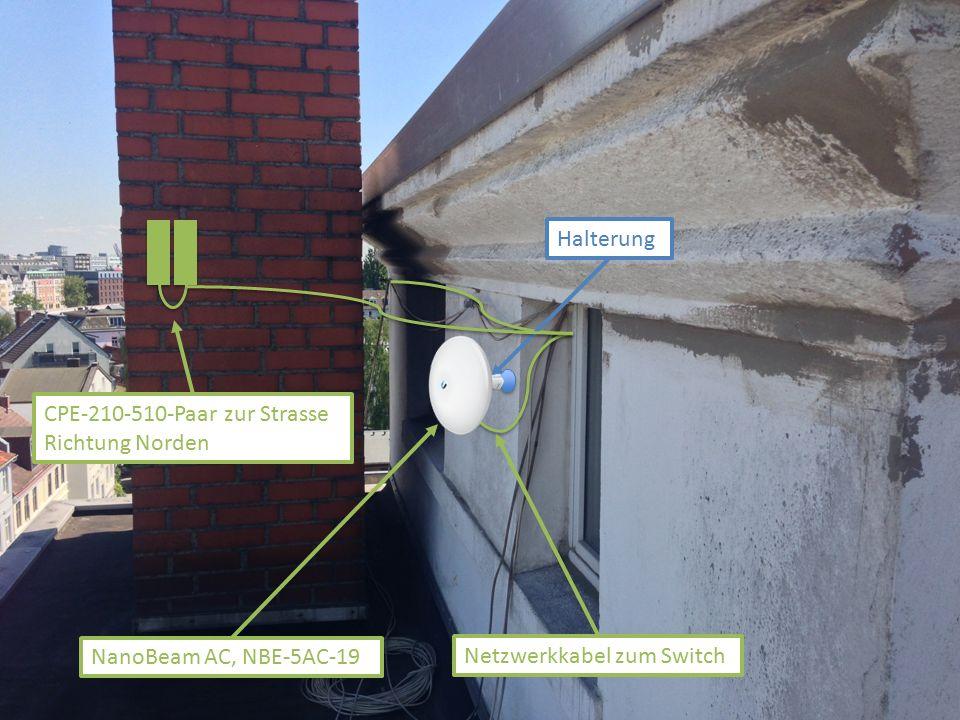 NanoBeam AC, NBE-5AC-19 Halterung Netzwerkkabel zum Switch CPE-210-510-Paar zur Strasse Richtung Norden